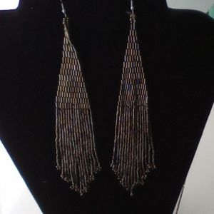 "Long Fancy 7"" Boho  Metallic Brickstitch Earrings"